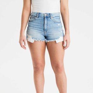 American Eagle curvy hi-rise shortie jean shorts